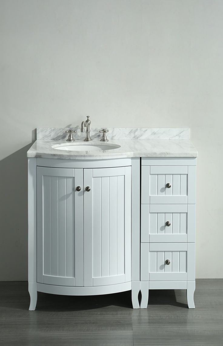 Picture Collection Website White inch Bathroom Vanity with White Carrera Marble Counter top and Porcelain Sink
