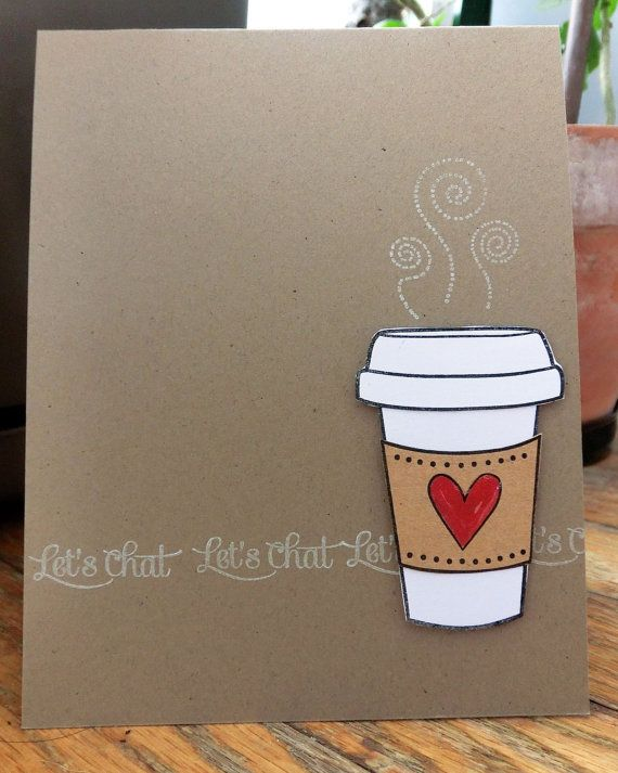 Let's Chat Over Coffee Handmade Card by rainemoments on Etsy