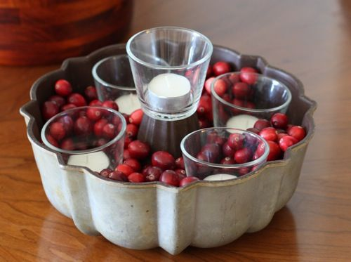 Bundt cake pan, cranberries, and candles = advent wreath.