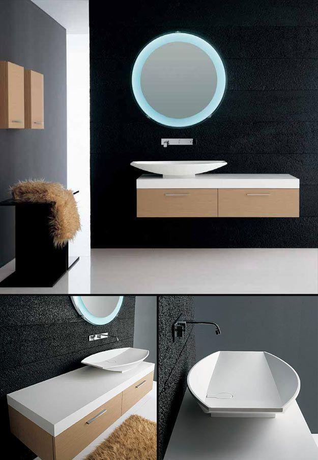 Line Oak Wall Hung Bathroom Furniture (8D)