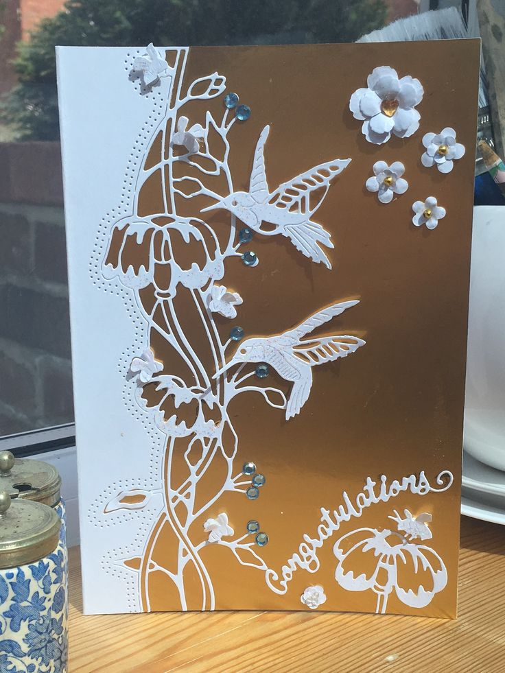 2nd engagement card using tattered lace 'love is in the air' die designed by Eira Ballingall