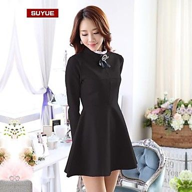 De suyue® vrouwen koreaanse slanke vintage lange mouw knielange jurk - EUR € 23.08
