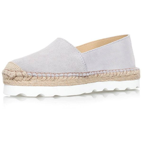 Lido Grey Flat Slip on Espadrille Sneakers by Carvela Kurt Geiger (845 CNY) ❤ liked on Polyvore featuring shoes, sneakers, grey, espadrille flats, slip-on sneakers, leather sneakers, leather slip on sneakers and grey flats