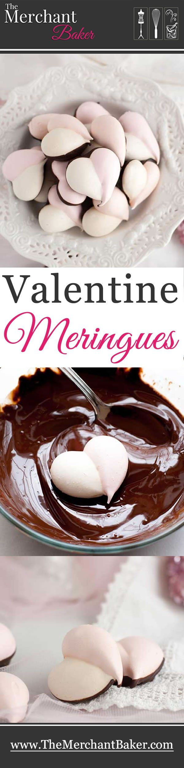 Valentine Meringues. Light as air, crispy meringues are dipped in deep dark chocolate for a less guilty, sweet little treat!