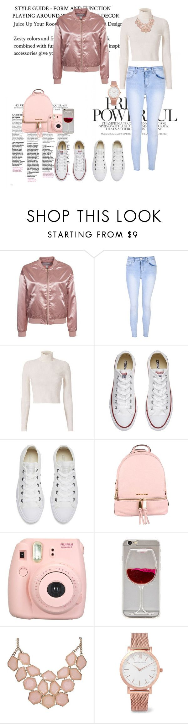 """""""Pink bomber jacket & Blue Jeans"""" by irina-savis ❤ liked on Polyvore featuring NLY Trend, Glamorous, A.L.C., Converse, MICHAEL Michael Kors, Fujifilm, Larsson & Jennings, bluejeans and pinkjacet"""