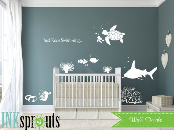 Under the sea Decal, Nemo inspired decal set, Just keep Swimming, Ocean friends, Whale family, Nautical, Modern Nursery, Nursery decals