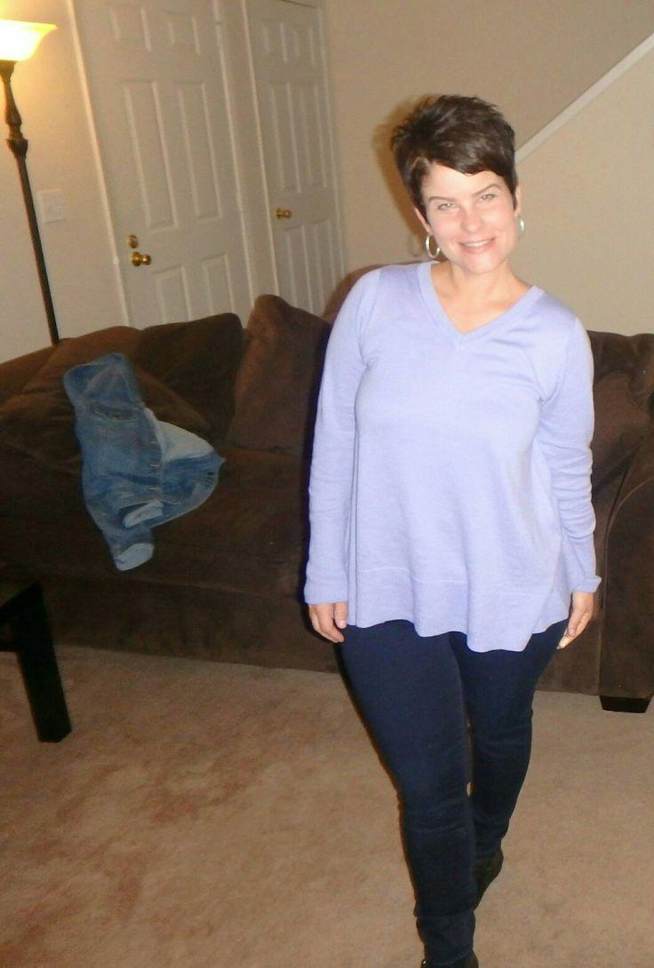 The Limited V neck trapeze tunic in lavendar