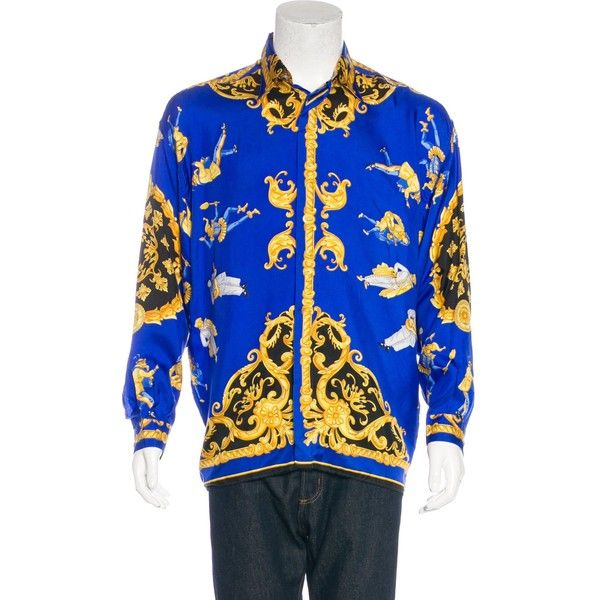 Pre-owned V2 Versace Classic Jester Baroque Silk Shirt ($365) ❤ liked on Polyvore featuring men's fashion, men's clothing, men's shirts, gold, black and gold mens shirt, baroque men's clothing, men's apparel, mens silk shirts and mens clothing