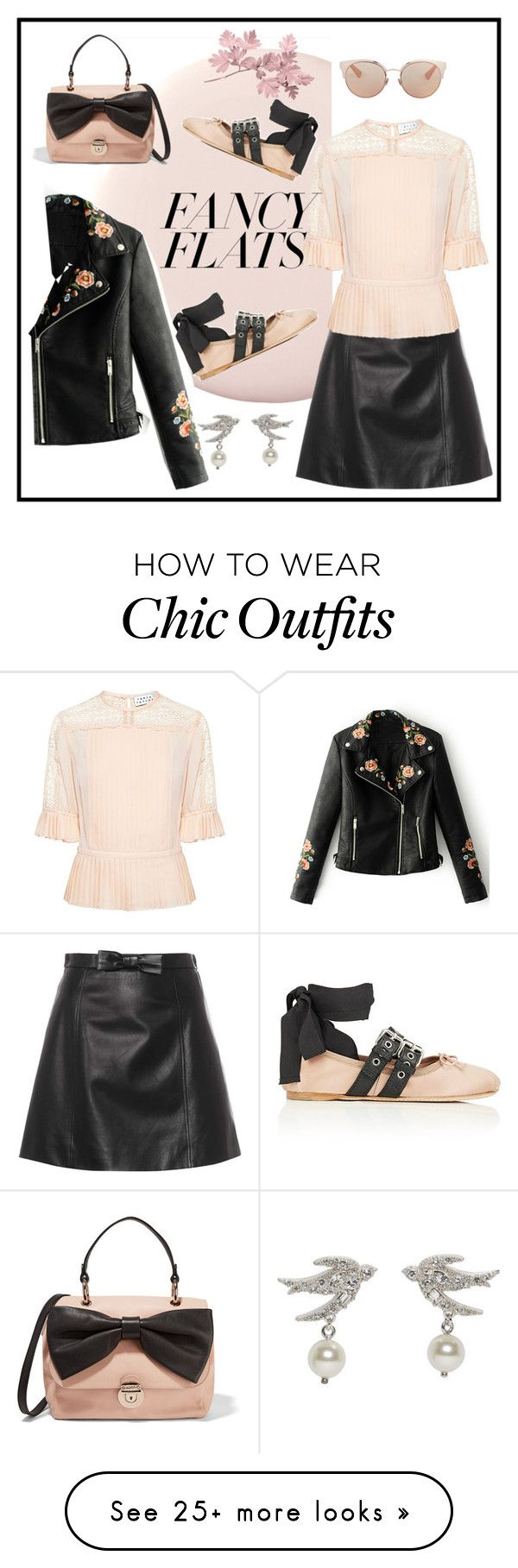"""""""Chic Ballet Flats"""" by summer913 on Polyvore featuring WithChic, Miu Miu, Tanya Taylor, Christian Dior, RED Valentino, balletflats and chicflats"""