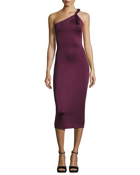 CUSHNIE ET OCHS Twist-Strap One-Shoulder Cocktail Dress, Maroon. #cushnieetochs #cloth #