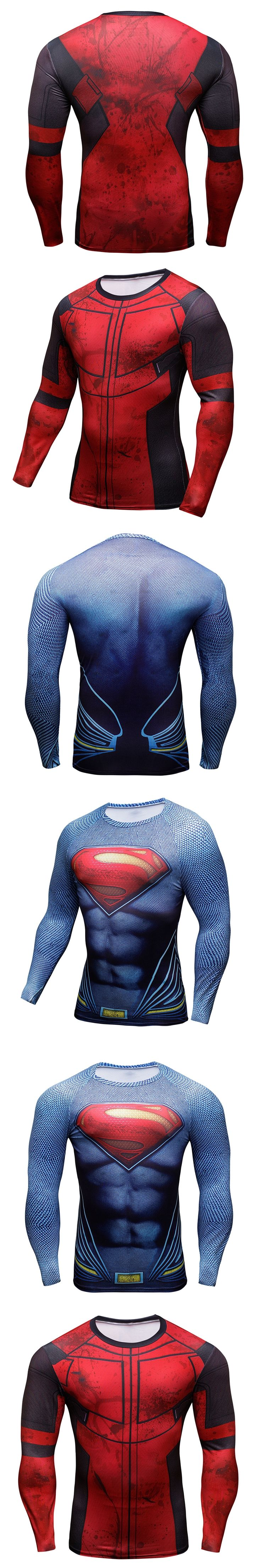 Mens Clothing Fitness tshirt 3D Superman/Captain America/Deadpool Long Sleeve T Shirt Men 3D T Shirt Crossfit Tops Shirts