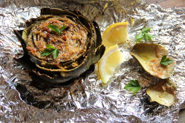 Roasted Artichokes with Lemon Garlic Breadcrumbs
