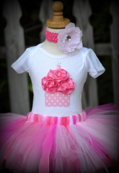 Pretty in Pink Birthday Girl 3D Cupcake Tutu Set with FREE bow or flower SIZE newborn to 3T