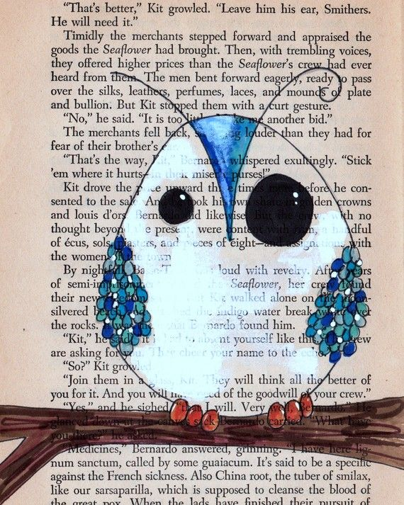owl lilustration art Owl custom drawing on old book page- own your own one of a kind owl on paper - eco / green / recycled / fantastic