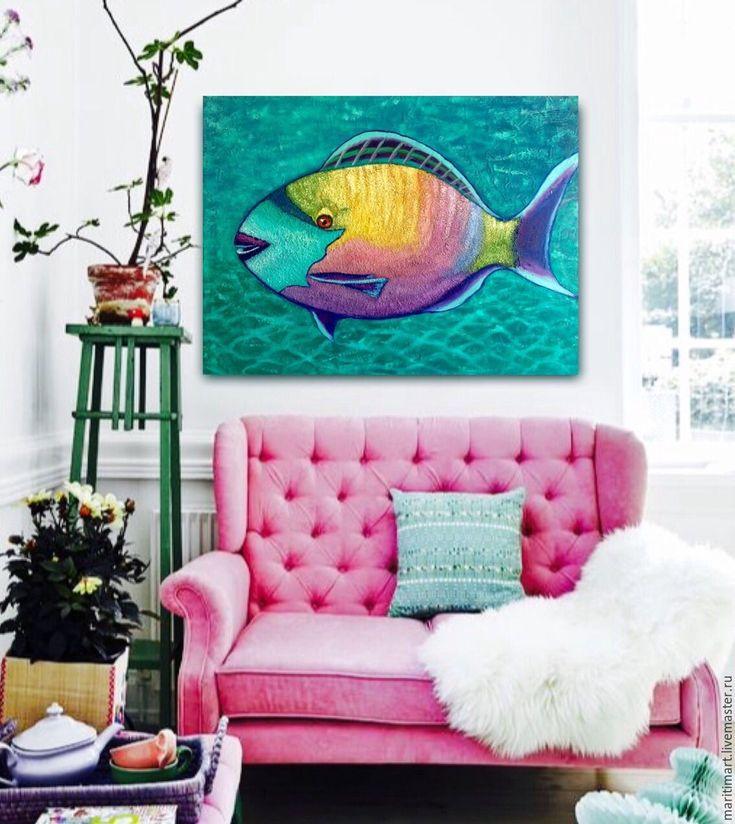 Купить Картина маслом. Рыба попугай - морская волна, рыба, бирюза, яркая картина
