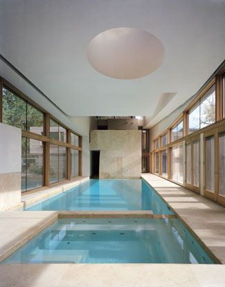 indoor pool in an art collector's residence in Toronto, ON designed by Hariri Pontarini Architects