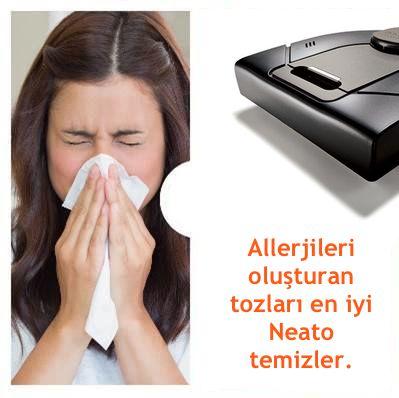 Astım ve allerji oluşturan her türlü toza karşı HEPA 13 filtreli Neato!