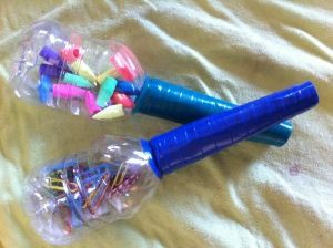 Musical instruments from recycled materials, pop bottle shakers! #EarthDay