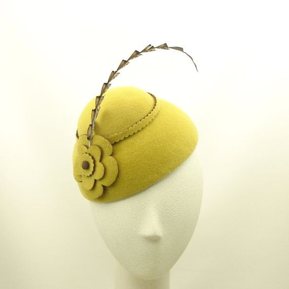 Mustard Yellow Felt Cocktail Hat for Women Mini Cloche Hat - The Millinery Shop
