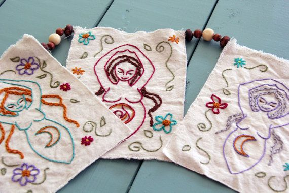Triple Goddess Hand Embroidered Garland by by CelesteJohnstonArt, $74.00 witch pagan wiccan craft inspiration