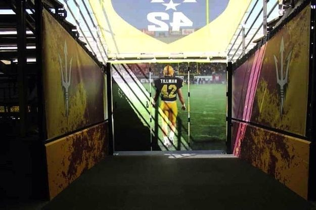 When Arizona State takes the field at Sun Devil stadium this season, they'll be led out of the tunnel by Pat Tillman.   Arizona State Football's Pat Tillman Tunnel Will Give You Chills