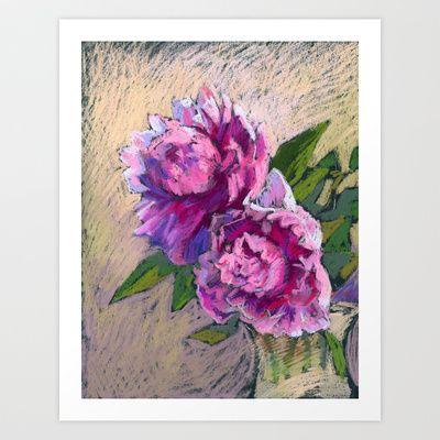 Pink peonies in a vase. Soft pastel. Still life. Print. Art Print by Kira Sokolovskaya - $14.48