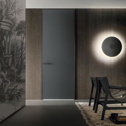link+ door, brown aluminium slim frame and grigio ardesia matt lacquered glass - #Rimadesio link+ deur, bruin gelakt aluminium slank frame en grigio ardesia mat gelakt glas.