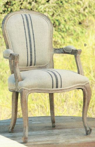 French Stripe Linen Arm Chair