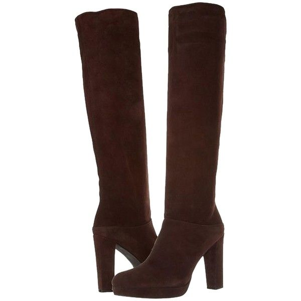 Pre-owned Stuart Weitzman Crushable Knee High Timber Brown Suede... (260 CAD) ❤ liked on Polyvore featuring shoes, boots, black, knee high boots, suede boots, brown knee length boots, stuart weitzman and black suede knee high boots