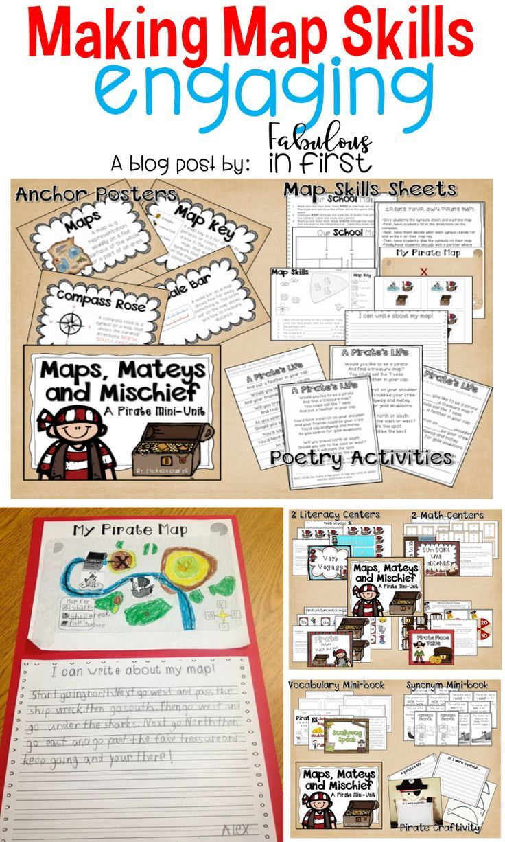 Make teaching map skills engaging with pirates and treasure maps.  This unit covers countless common core standards.
