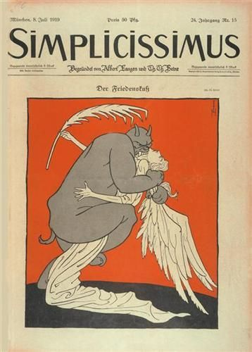 Simplicissimus, Kiss of Peace (1919). Cover art by Thomas Theodor Heine