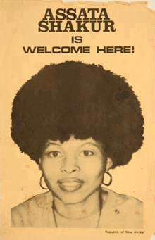 After her daring 1979 escape from a NJ prison, the FBI posted Wanted signs all over the NY area. In response, supporters posted 'Assata Shakur is Welcome Here' posters all over as she lived underground before escaping to Cuba, where she lives today. HANDS OFF ASSATA!