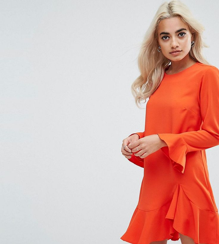 ASOS PETITE Fluted Sleeve Ruffle Hem Mini Dress - Orange