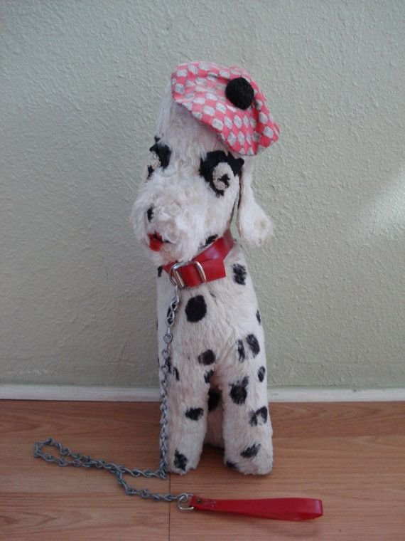 1950s French Dalmatian Stuffed Dog Doll with Collar by bycinbyhand, $65.00