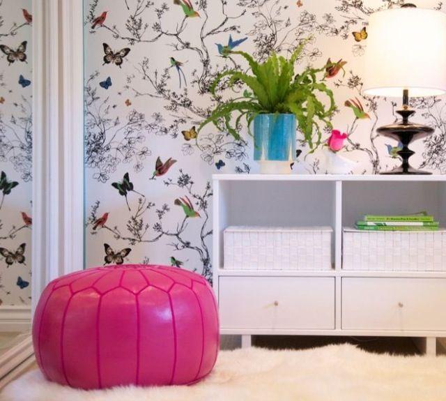 Pink ottoman butterfly feature wall wallpaper girls room