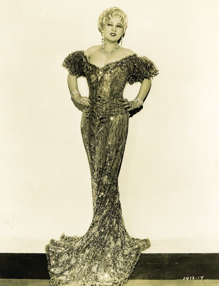Mae West in an Edith Head Design. From stirredstraightup.blogspot.com
