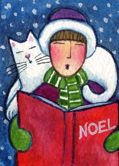 Christmas Cat Lady and White CatOriginal by SusanFayePetProjects, $15.00