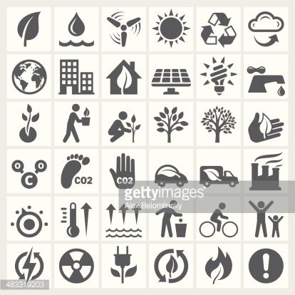 Vector Art : Environmental Conservation black and white icon set