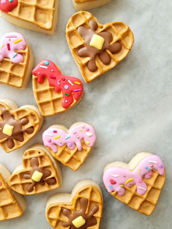 """Say """"I love you!"""" this Valentine's Day with these homemade Waffle-Heart Sugar Cookies! What a wonderful Valentine's Day gift for your sweetheart! #valentine #valentinesdaygiftideas #hearts #waffles #sweets #sweetheart #cookies #sugarcookies #ad"""