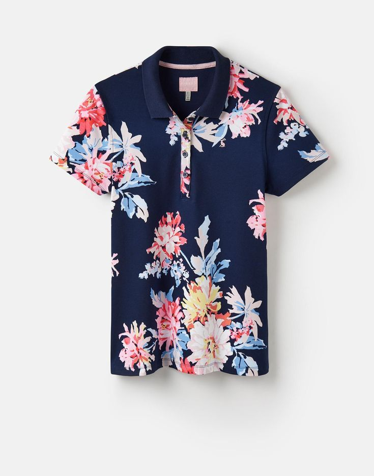 Pippa Navy Whitstable Floral Printed Polo Shirt  | Joules US