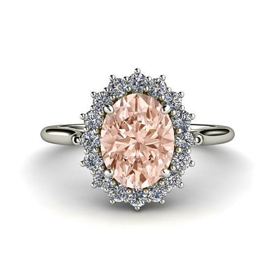 Morganite Ring Diamond. I think this speaks for itself. Hmmm...Valentines Day...???