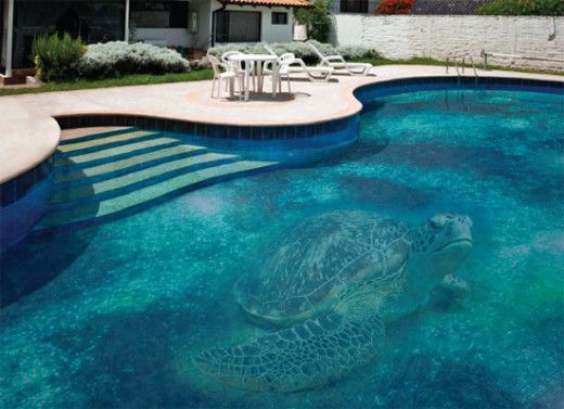 modern swimming pool design with mosaic glass tile giant turtle not 100 percent sure what this is but it has a giant turtle so who cares - Best Swimming Pool Design