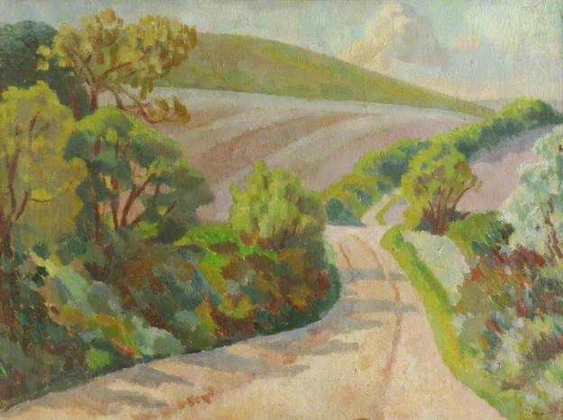 A Lane in Rolling Countryside, South Downs by Roger Eliot Fry, 1918.