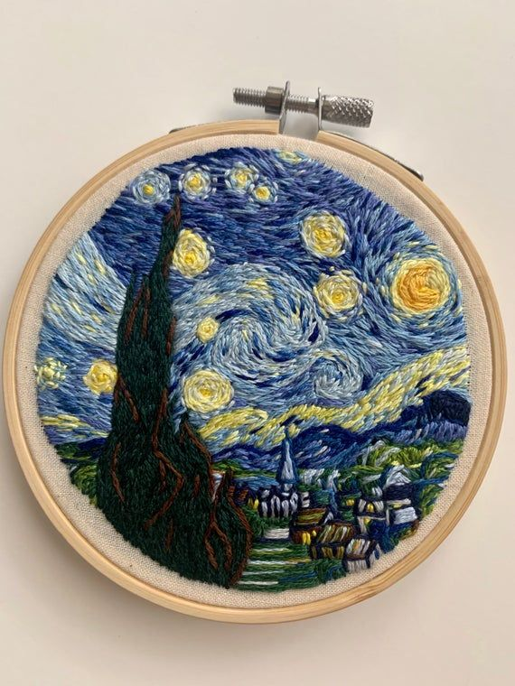 cross stitch hand embroidery kit the starry night by Vincent van Gogh classic painting gift for wife Art embroidery modern embroidery