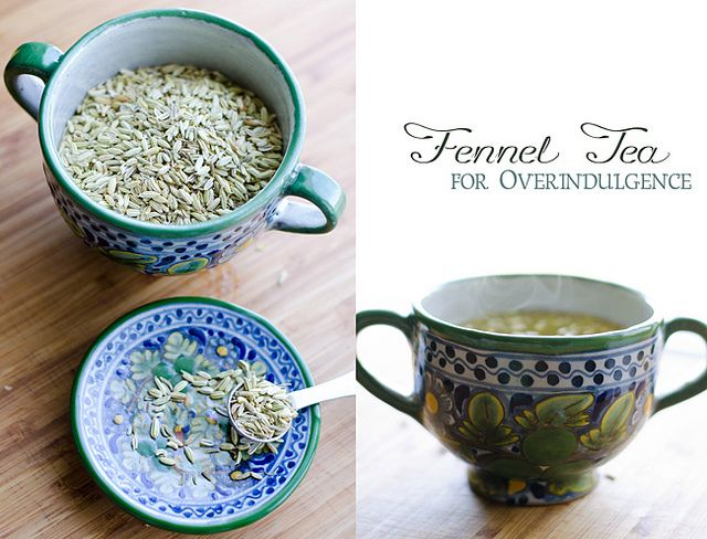 3 Reasons to Drink Fennel Tea:  1. Appetite Suppressant  2. Breath Freshener  3. Cure for Overindulgence (stomach ache, bloating, flatulence)
