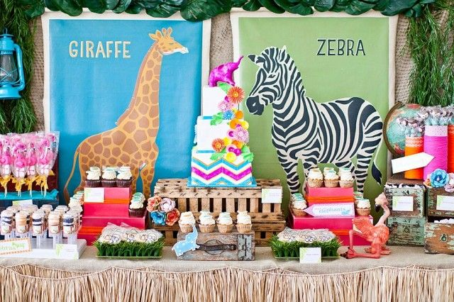 adorable safari jungle zoo theme for birthday party or baby shower