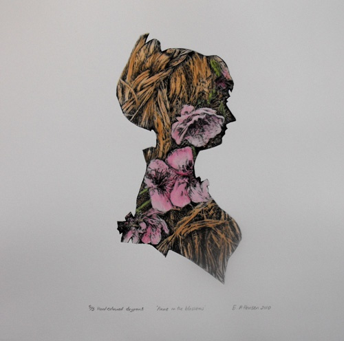 Esther Hansen Anne in the Blossoms, 2010, drypoint etching