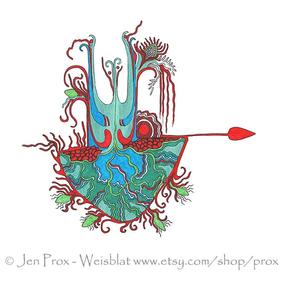 red teal and green art print  2nd in the Sketchbook Series by prox