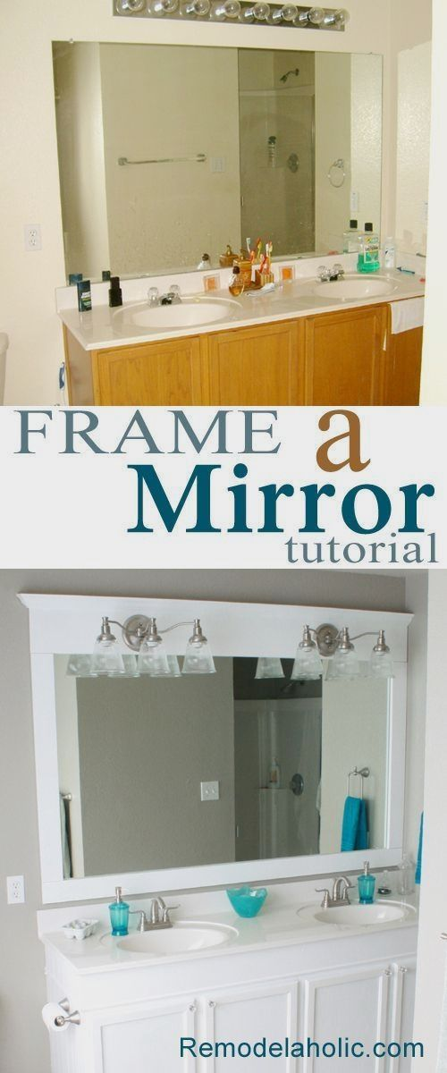 We framed our builder-grade bathroom mirror using crown m  DIY