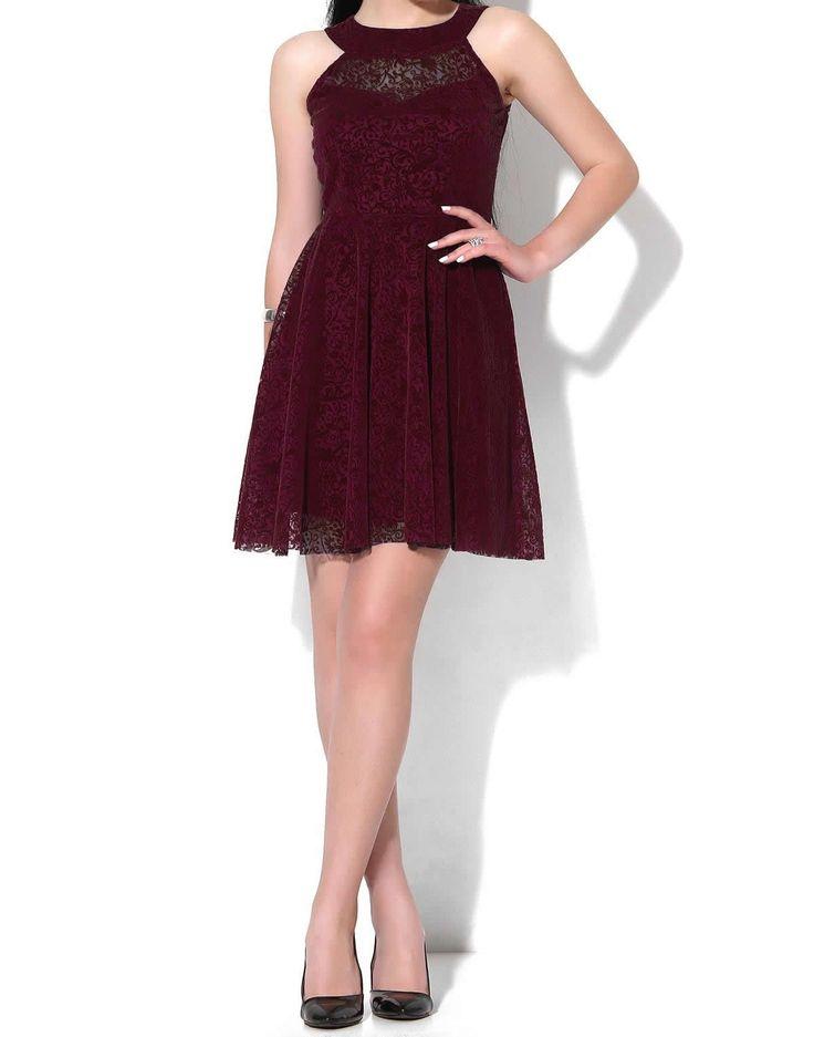 Dantel İşleme Kloş #Etek #Elbise - Bordo